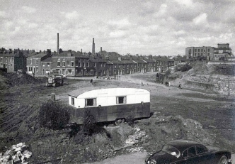 Foreman's Caravan. Demolition of Aqueduct street and Lancaster Canal bridge, Preston, Lancashire, England, UK