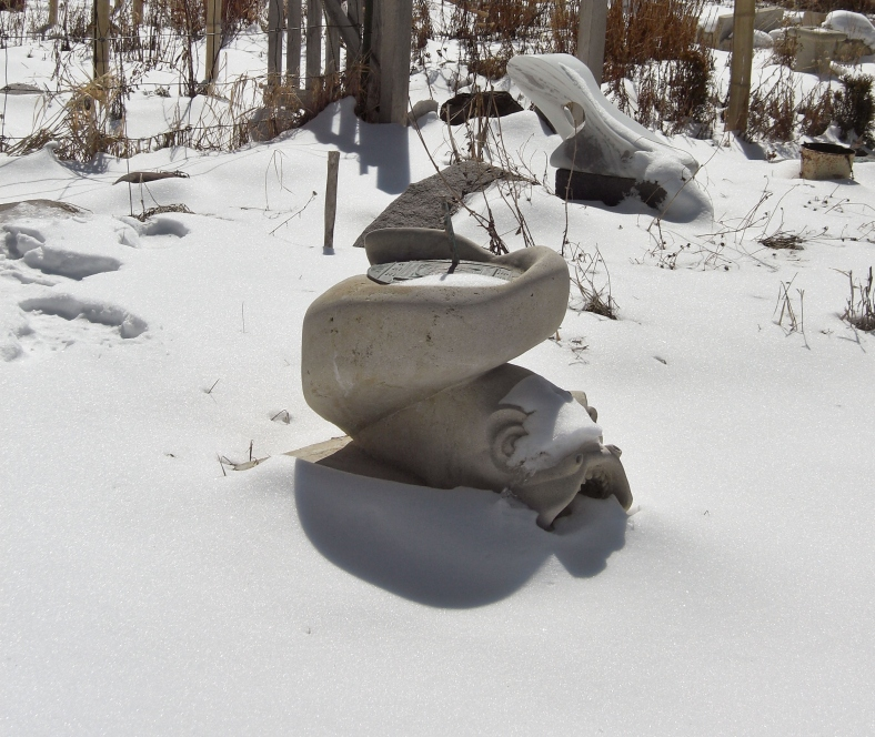 Sea Monster in a Snowy Sculpture Garden @ martincooney.com