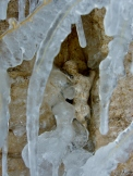 Icy Climber At Rest, Winterset Limestone Fountain by Martin Cooney, author martincooney.com