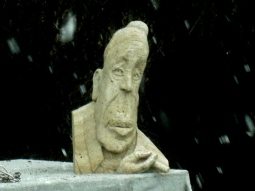 Boogieman, Winterset Limestone Sculpture by Martin Cooney, stone sculptor