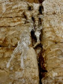 Climber at Rest Fountain, Winterset Limestone Sculpture by Martin Cooney