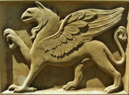 Roman Griffen, Kansas Creme Limestone Sculpture by Martin Cooney, Stone Sculptor