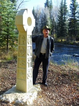 Martin Cooney, author martincooney.com, with Contemporary Traditional Kansas Creme Limestone Celtic Cross, Woody Creek, Colorado