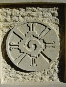 detail, Contemporary Traditional Celtic Cross, Kansas Creme Limestone Sculpture by Martin Cooney, Woody Creek, Colorado