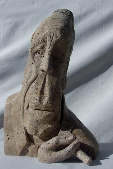 Boogieman, Winterset Limestone Sculpture by Martin Cooney, stone sculptor