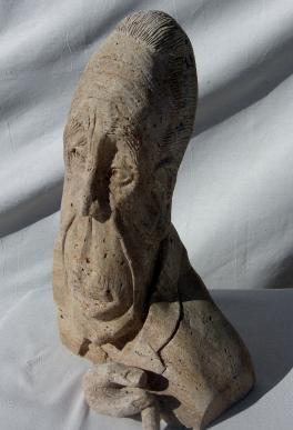 Boogieman, Winterset Limestone Sculpture by Martin Cooney