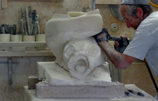 Martin Cooney, author martincooney.com, Sea Monster, Limestone Sculpture