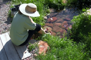 Kris Cooney, owner KMJC GALLERY, Aspen CO, enjoys her garden in Woody Creek