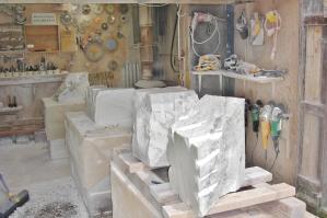 Colorado Yule Marble rough blocks each banker in the Birdhaven Studio Workshop, Woody Cree, Colorado