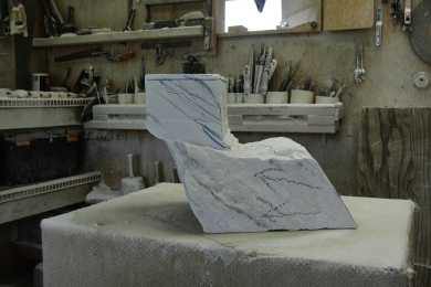 Studio Workshop, Woody Creek CO, Swan Wave, Rough Stage, The Maiden Collection, Colorado Yule Marble Sculpture by Martin Cooney