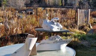Troy, Dreadnought, The Maiden Collection, Colorado Yule Marble Sculpture by Martin Cooney
