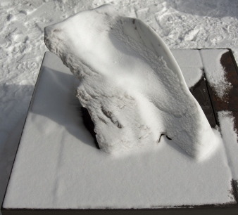 Snowy Sculpture Garden, Mabel, Spirit of the Stone, The Maiden Collection, Colorado Yule Marble Sculpture by Martin Cooney
