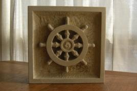 Dharma Wheel, Kansas Creme Limestone / 12 x 4 12 inch / 28 lbs, by Martin Cooney, Snowy Birdhaven Studio Sculpture Garden,