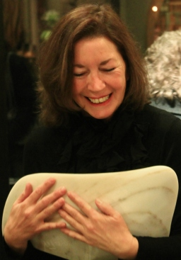 Kris Demonstrates how to carry a Maiden Bowl, The Maiden Collection, Colorado Yule Marble Sculpture by Martin Cooney