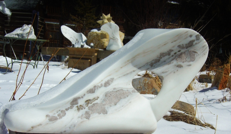 Snowy Sculpture Garden, The Demure One, The Maiden Collection, Colorado Yule Marble Sculpture by Martin Cooney.