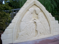 Will and Grace, Birdhaven, Woody Creek, Kansas Creme Limestone by Martin Cooney