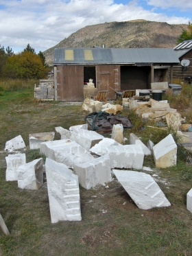Workshop, The Maiden Collection Slab. Colorado Yule Marble Sculpture at martincooney.com -Splitting The Maiden Collection Yule Marble Slab