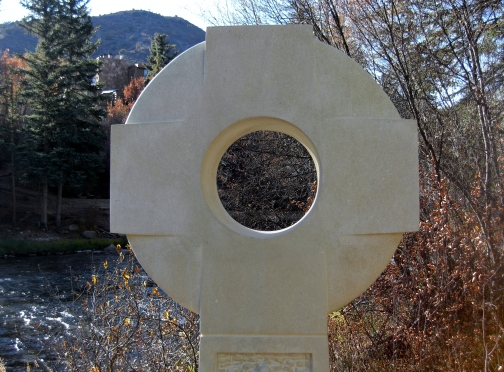 Contemporary Traditional Celtic Cross, Kansas Creme Limestone Sculpture by Martin Cooney, Woody Creek, Colorado