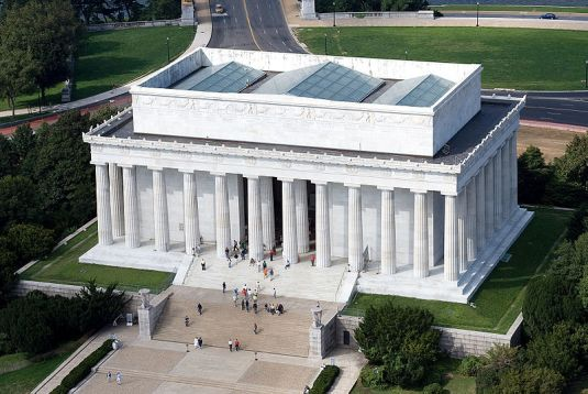 Lincoln Memorial, east side aerial view