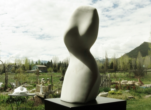 "$1,650 The Belle 7.5x6x18.5"", The Maiden Collection, Colorado Yule Marble Sculpture by Martin Cooney"