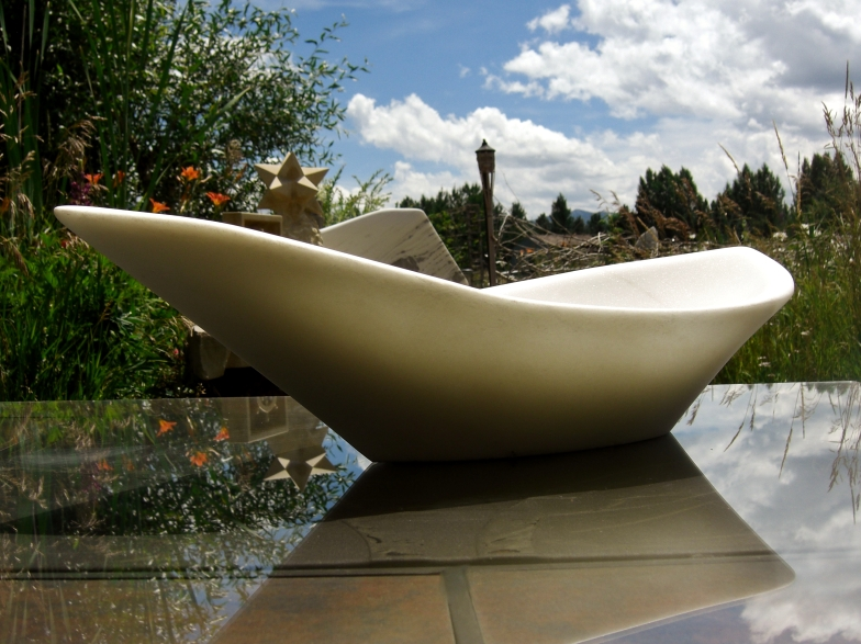 "$1,400 Longboat 22.5x11.5x6.5"", The Maiden Collection, Colorado Yule Marble Sculpture by Martin Cooney"