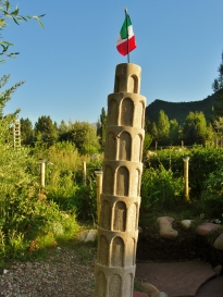 The Leaning Tower of Woody Creek, Winterset Limestone Sculpture by Martin Cooney, stone sculptor