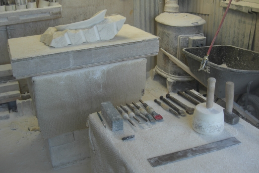 Birdhaven Studio Workshop, Work in Progress, The Maiden Collection, Colorado Yule Marble Sculpture by Martin Cooney