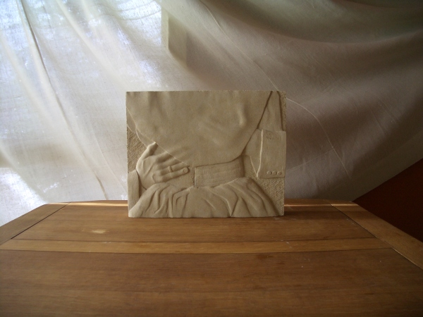 Kansas Creme Limestone Bas Relief. 'They Do'
