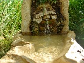 Green Man Solar Fountain, Winterset Limestone by Martin Cooney, Birdhaven Studio Sculpture Garden, Woody Creek, Colorado