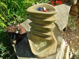 Pagoda Bowl Fountain, Kansas Creme Limestone by Martin Cooney, Birdhaven Sculpture Garden, Woody Creek, Colorado