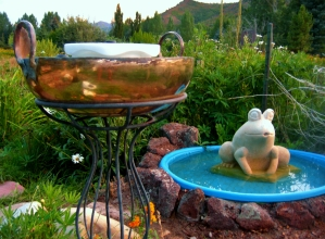 Birdbath Wok, Marzipan Fountain, Solar Frog, Sculpture Garden, Around Dusk