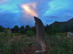 Three Faces Standing Stone, Sculpture Garden, Around Dusk
