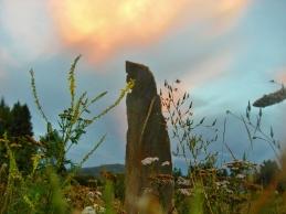 Three Faces Standing Stone, Winterset Limestone, by Martin Cooney, Birdhaven Sculpture Garden, Woody Creek, Colorado