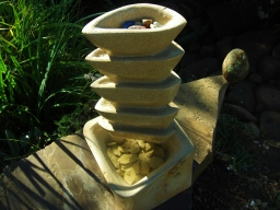 Pagoda Bowl Fountain, Kansas Creme Limestone by Martin Cooney, Stone Sculptor