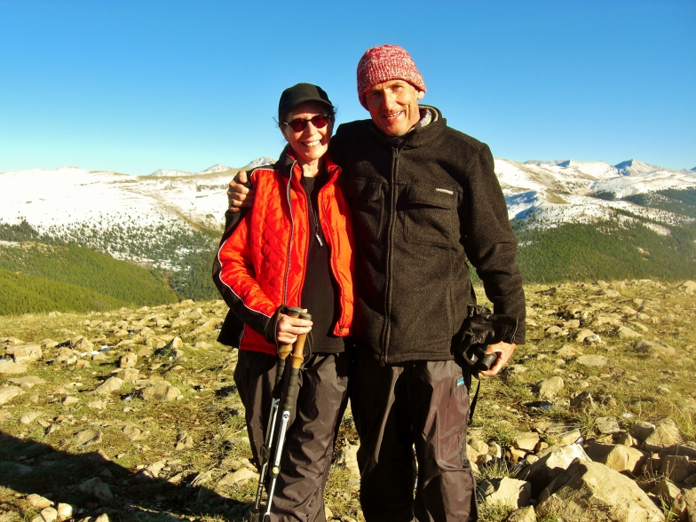 Martin Cooney with Kris near Fowler Hilliard Hut, Colorado Rocky Mountains
