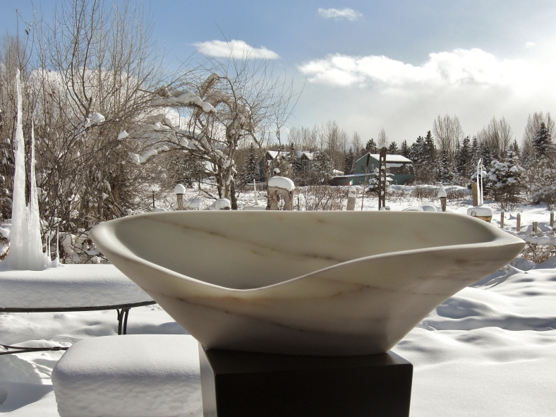 'On The Cusp', 1314 Winter Collection, Colorado Ylule Marble Sculpture by MARTIN COONEY