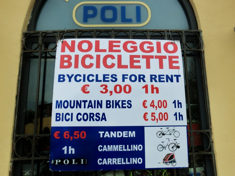 Rental Prices, Bicyling Around Lucca, Tuscany, Italy