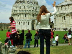 Tourists Pose at The Leaning Tower of Pisa, Italy, on the North West Tuscan Way by Martin Cooney