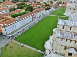 Looking down from The Leaning Tower of Pisa, Italy, on the North West Tuscan Way by Martin Cooney