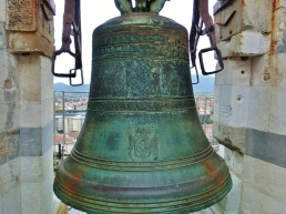 Giant Hand Bell Atop The Leaning Tower of Pisa, Italy, on the North West Tuscan Way by Martin Cooney