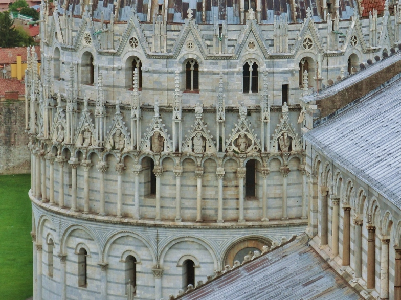 View of Baptistery and Cathedral from atop The Leaning Tower of Pisa, Italy, on the North West Tuscan Way by Martin Cooney