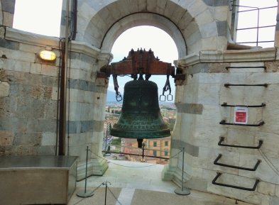 Great Hand Bell atop The Leaning Tower of Pisa, Italy, on the North West Tuscan Way by Martin Cooney
