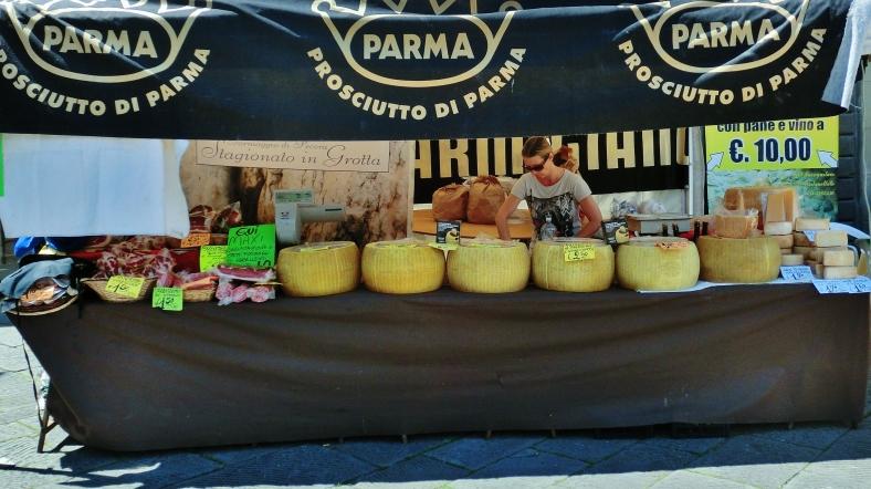 Cheese stall, Fivizzano in Festive Mood, Luginiana, Tuscany, Italy