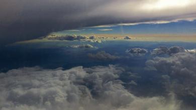 Airplane window, sky