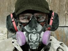 Martin Cooney with full armored kit, studio workshop, Birdhaven Gallery, Woody Creek, Colorado