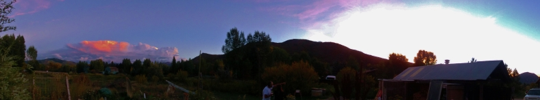 panorama. Autumn Equinox Sunset Clouds Over Aspen, CO 2014