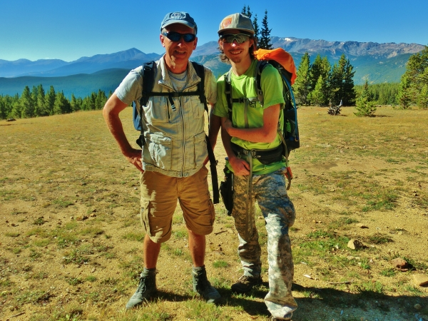 Martin and Joseph Cooney set out to hike from Uncle Bud's Hut, Late September, Colorado, 2014