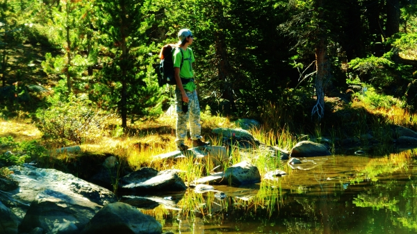Joseph Cooney at Sound Wave Lake, Two day hikes from Uncle Bud's Hut, Late September, Colorado, 2014