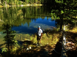 Martin Cooney, author martincooney.com, at Sound Wave Lake, Two day hikes from Uncle Bud's Hut, Late September, Colorado, 2014