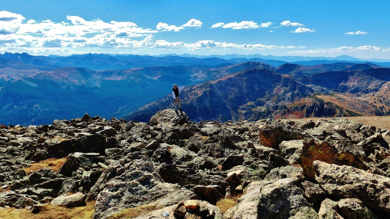 Joseph Cooney, top of Galena Mountain, Two day hikes from Uncle Bud's Hut, Late September, Colorado, 2014